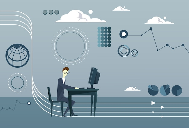 Homme d'affaires travaillant sur le remue-méninges sur la pensée informatique Vecteur Premium