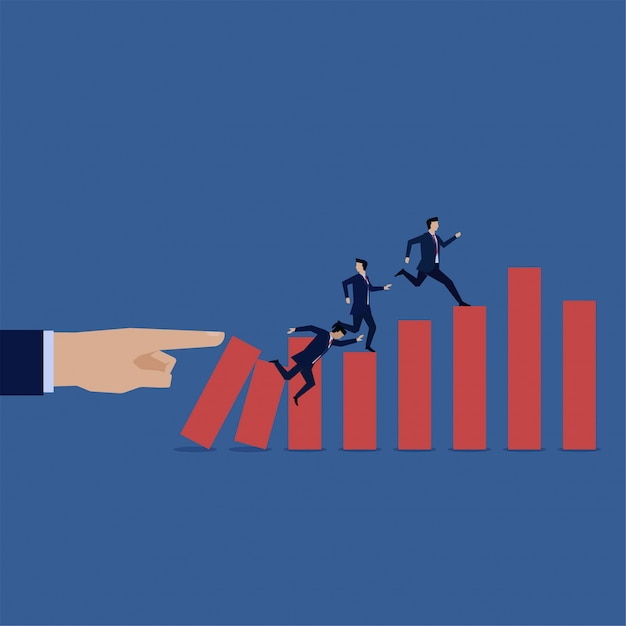 Homme d'affaires traverser graphique tomber en faillite. anticipation de crise. Vecteur Premium