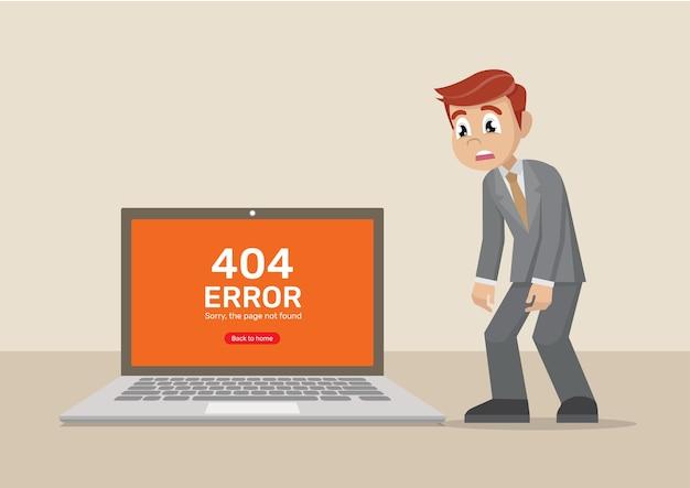 Homme d'affaires tristement ordinateur sur la page introuvable. Vecteur Premium