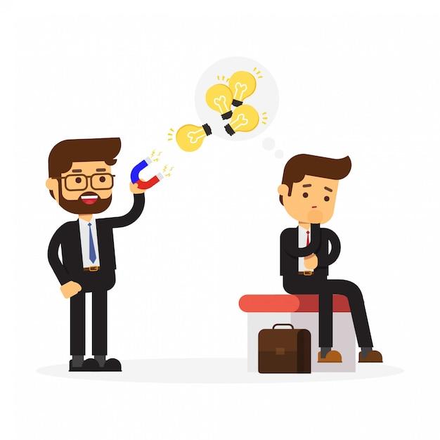 Homme d'affaires utilisant un énorme aimant attire l'ampoule d'un collègue Vecteur Premium