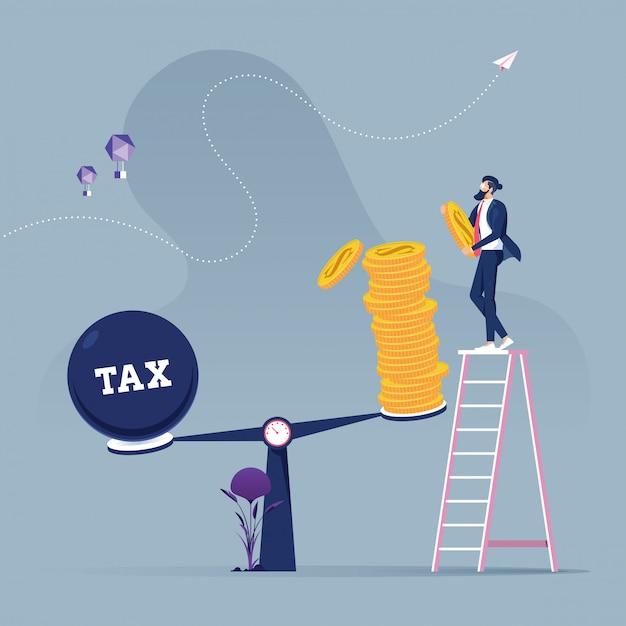 Homme Affaires, Utilisation, Pièces, équilibrage, Impôt, échelles Vecteur Premium