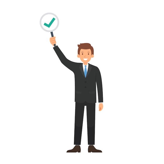 Homme d'affaires avec le vecteur correct marque et vote Vecteur Premium