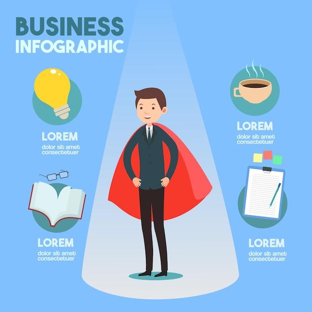Homme d'affaires avec vecteur infographie idée Vecteur Premium