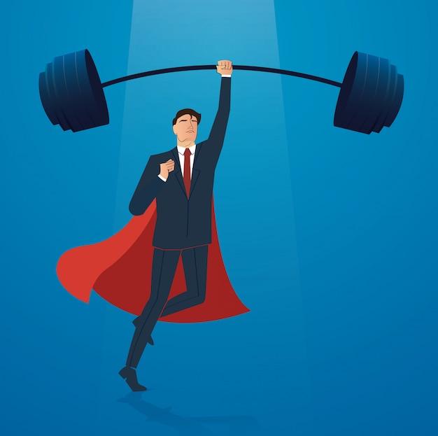 Homme D'affaires Avec Le Vecteur De Musculation Cape Rouge Vecteur Premium