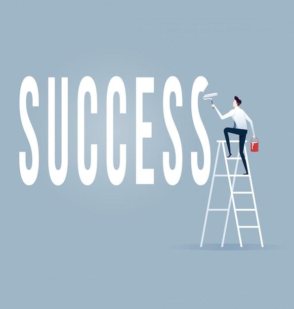 Homme affaires, vecteur, rouleau, peinture, mots, succès Vecteur Premium