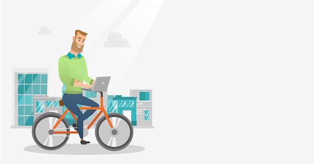 Homme d'affaires à vélo avec un ordinateur portable. Vecteur Premium