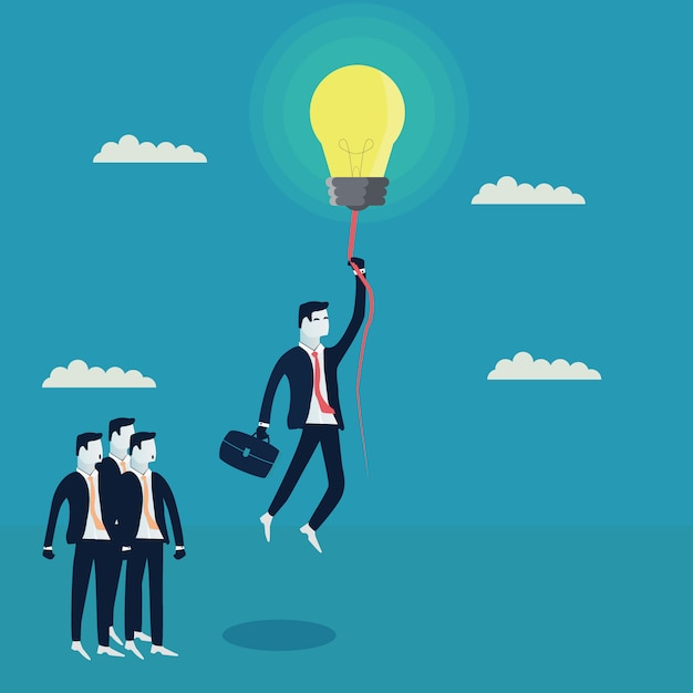 Homme D'affaires Volant Avec Une Ampoule Vecteur gratuit