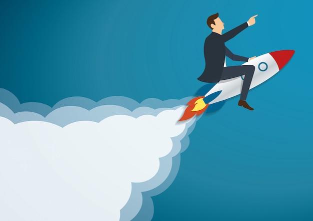 Homme d'affaires volant avec une fusée Vecteur Premium