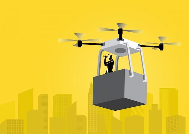 Homme affaires, voler, drone Vecteur Premium
