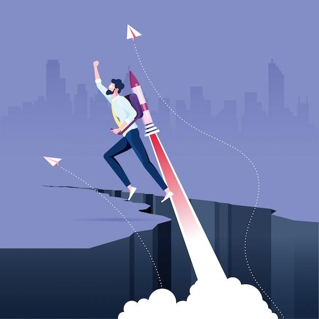 Homme affaires, voler, fusée, depuis, rock gap Vecteur Premium