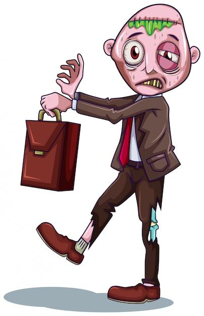 Un homme d'affaires de zombie sur fond blanc Vecteur gratuit