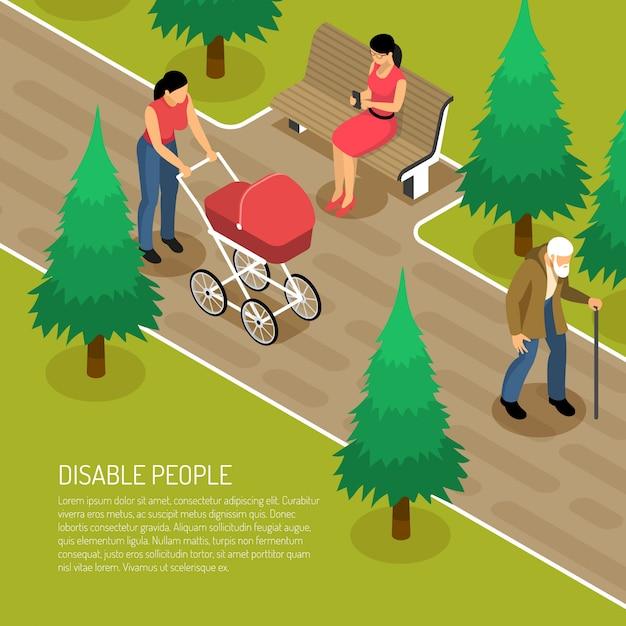 Homme âgé Handicapé Avec Canne Et Deux Femmes Dans Le Parc 3d Vecteur gratuit