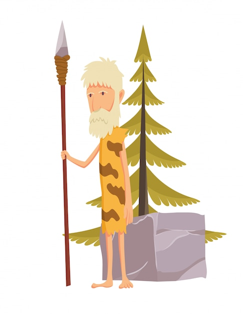 Homme âgé de pierre avec lance. personnage de dessin animé de l'homme des cavernes. Vecteur Premium