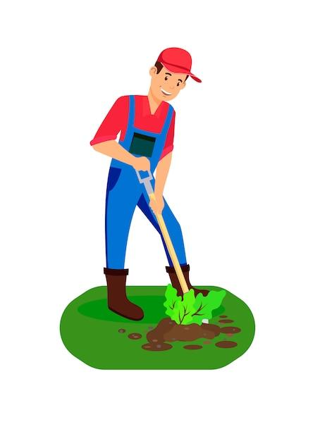 Homme agriculteur plantant illustration de couleur de pousse Vecteur Premium