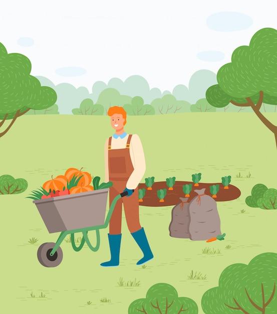 Homme agriculteur avec récolte d'automne dans le panier vecteur Vecteur Premium