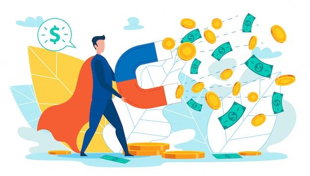 Homme avec aimant rassemblant de l'argent, des pièces de monnaie, des dollars. Vecteur Premium