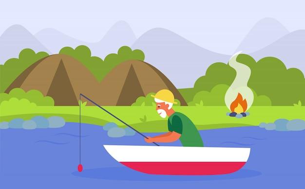 Homme Aîné, Peche, Sur, Rivière, Quoique, Camping Vecteur gratuit