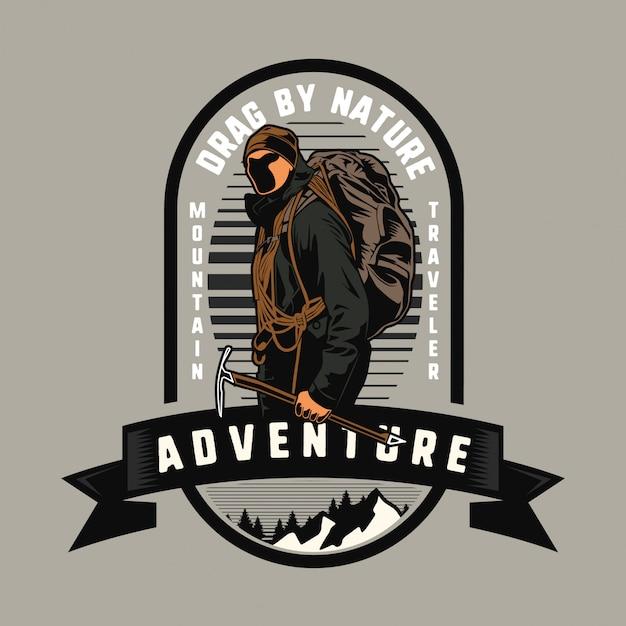 Homme alpiniste aventureux Vecteur Premium