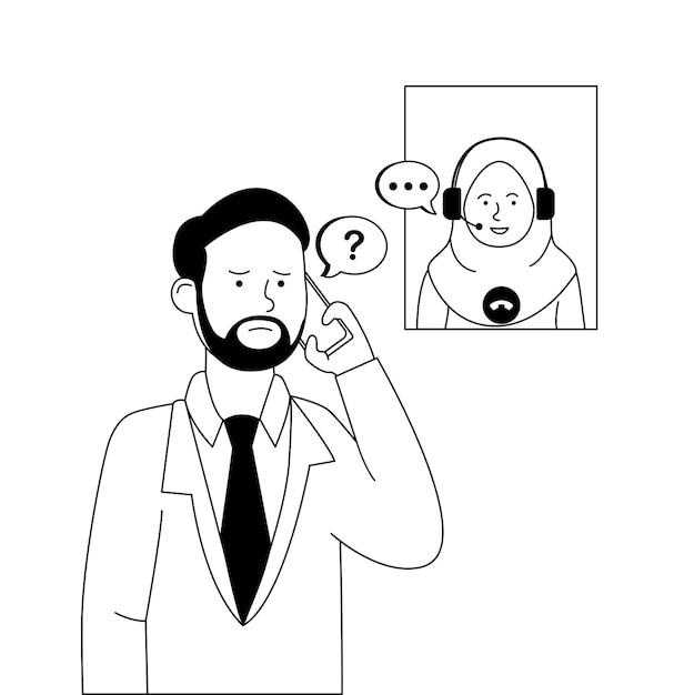 Homme Appelant Le Service Client Pour Se Plaindre Vecteur Premium