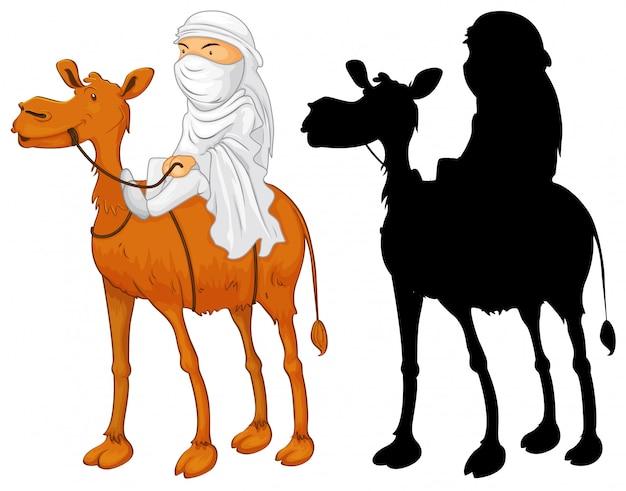 Homme arabe à dos de chameau Vecteur gratuit