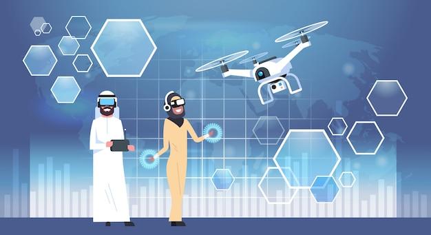 Homme arabe et femme portant des lunettes 3d Vecteur Premium