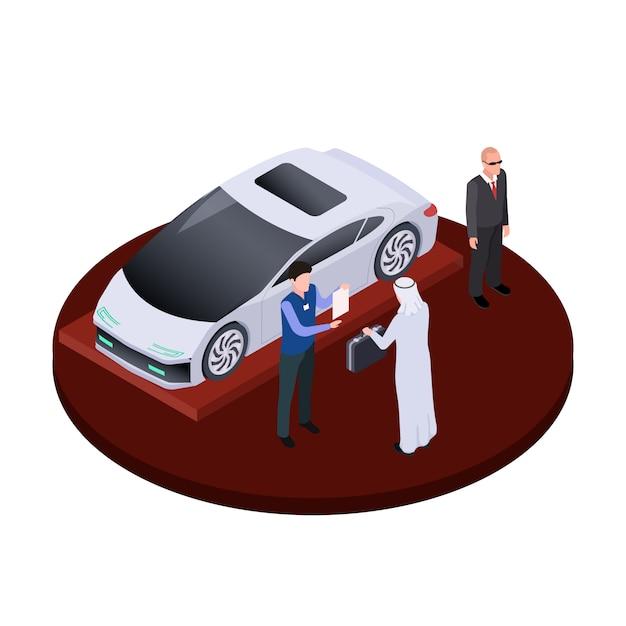 L'homme Arabe Isométrique Achète Le Concept De Voiture électrique Moderne. Illustration De Salon Automobile De Luxe Vecteur Premium
