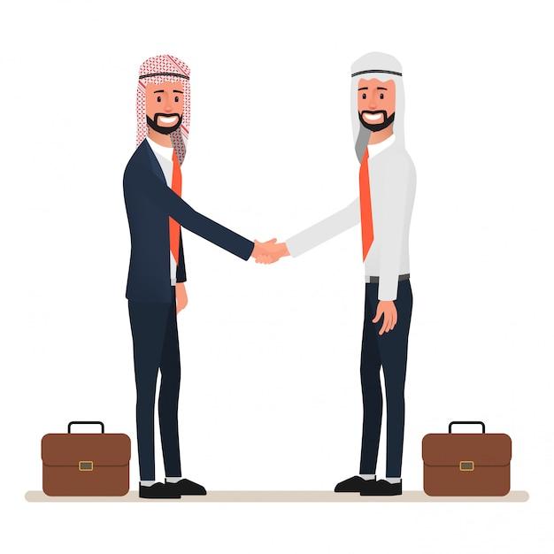 Homme arabe se serrant la main au partenariat commercial. Vecteur Premium