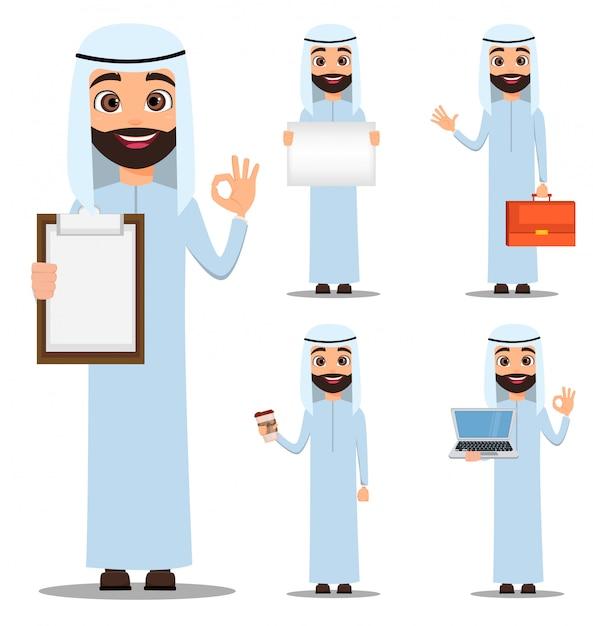 Homme Arabe En Vêtements Blancs Vecteur Premium