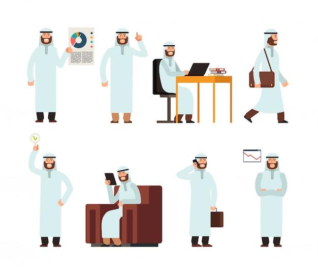 Homme arabe en vêtements ethniques islamiques saoudiens traditionnels dans différentes situations commerciales Vecteur Premium