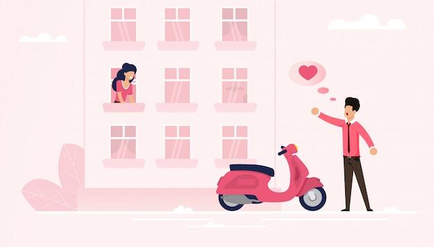 Un homme arrivé sur un vélomoteur déclare son amour à son âme sœur Vecteur Premium