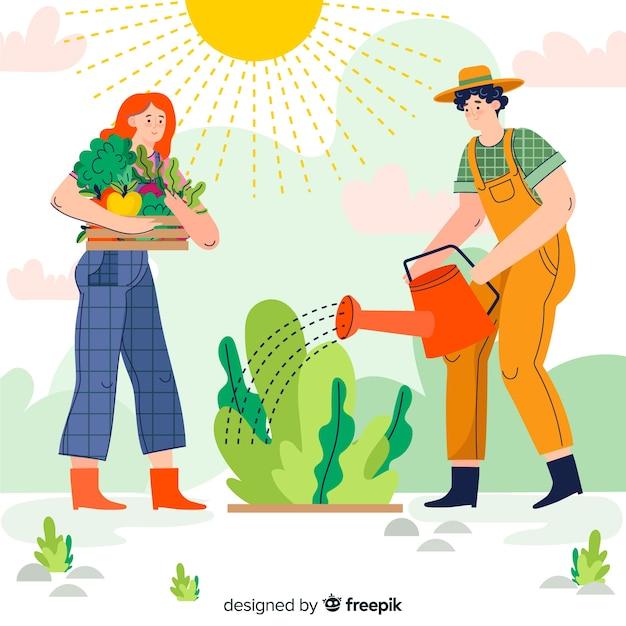 Homme arrosant les plantes Vecteur gratuit