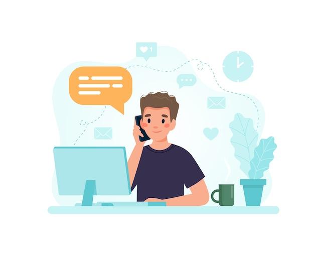 Homme Assis à Un Bureau Avec Ordinateur Répondant à Un Appel. Vecteur Premium