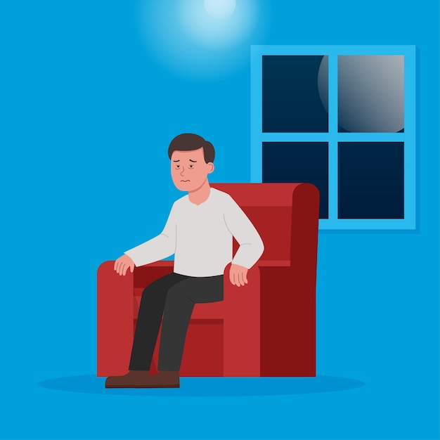 Homme Assis Sur Une Chaise Sans Sommeil Cause Insomnie Illustration Plate Vecteur Premium