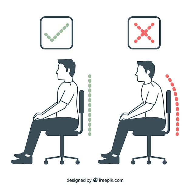 Homme assis correctement et mal Vecteur gratuit