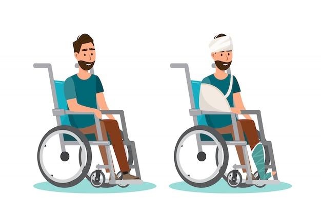 Homme assis sur un fauteuil roulant avec un fond blanc Vecteur Premium