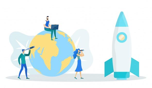 Un homme assis sur un globe terrestre avec un ordinateur portable et une fusée Vecteur Premium