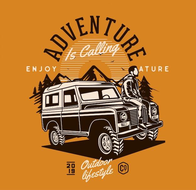 Homme assis sur une jeep aventure Vecteur Premium