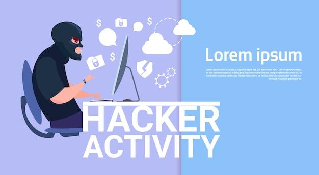 Homme assis à l'ordinateur hacker Vecteur Premium