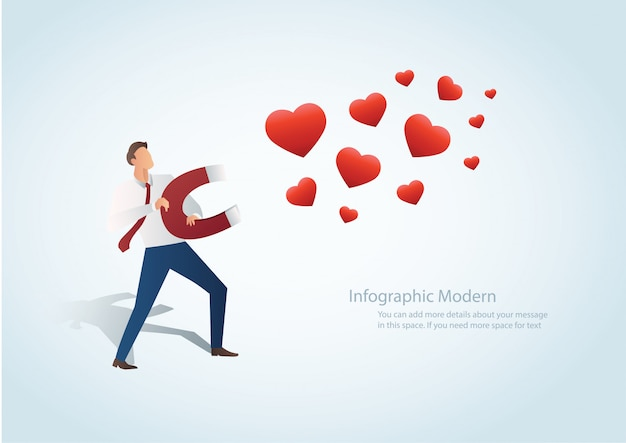 Homme attirant le coeur Vecteur Premium