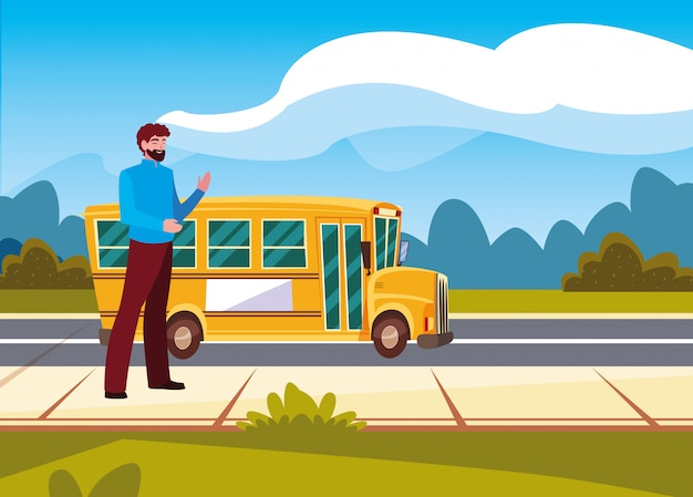 Homme et autobus scolaire dans la rue Vecteur Premium