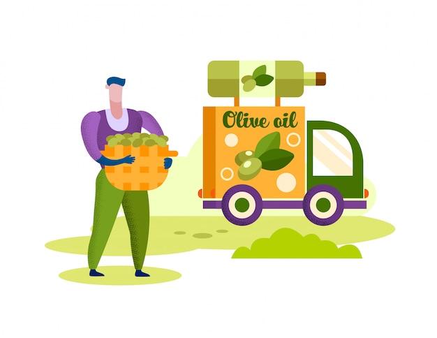 Homme aux olives de panier. camion avec bouteille d'huile. Vecteur Premium