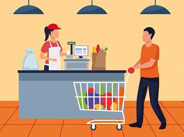 Homme d'avatar avec voiture de supermarché à la caisse, design coloré Vecteur Premium