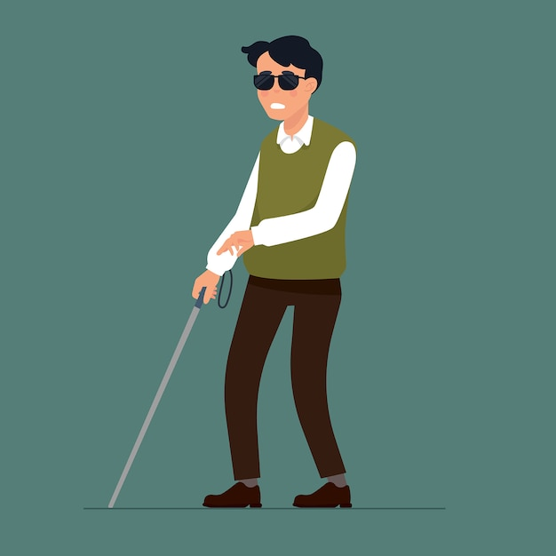 Homme aveugle avec le bâton Vecteur Premium