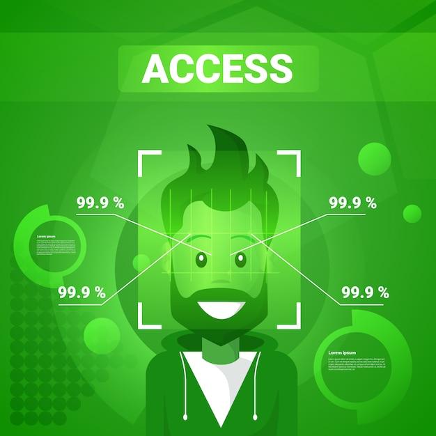 Homme ayant accès après l'identification du visage, numérisation de la technologie moderne du concept de reconnaissance biométrique Vecteur Premium