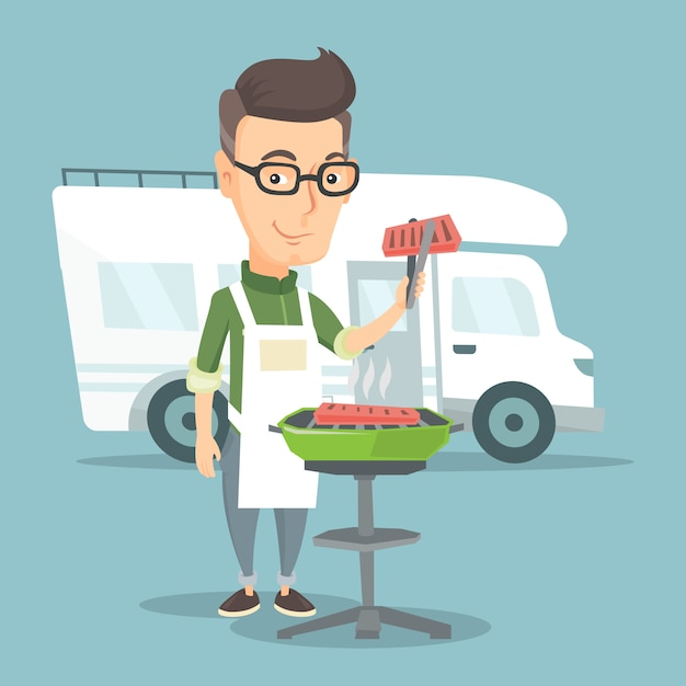 Homme Ayant Un Barbecue Devant Le Camping-car. Vecteur Premium