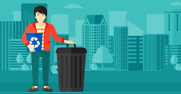 Homme avec des bacs de recyclage Vecteur Premium