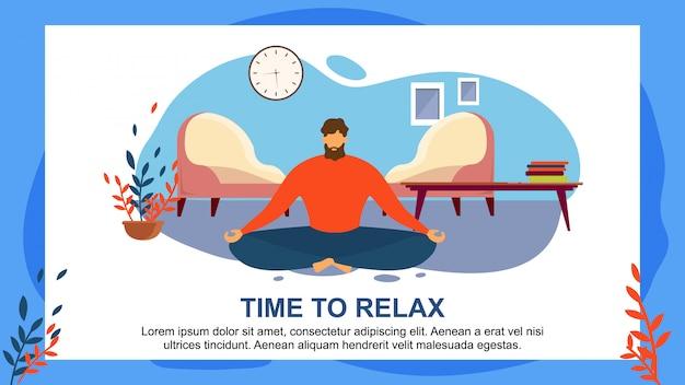 Homme de bande dessinée méditer à la maison s'asseoir au salon de plancher Vecteur Premium