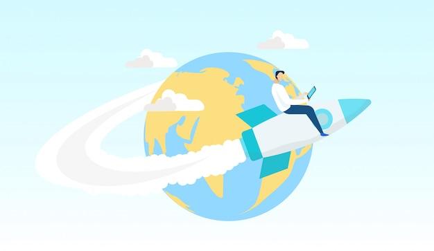 Homme bande dessinée volant sur une fusée autour du monde plat. Vecteur Premium