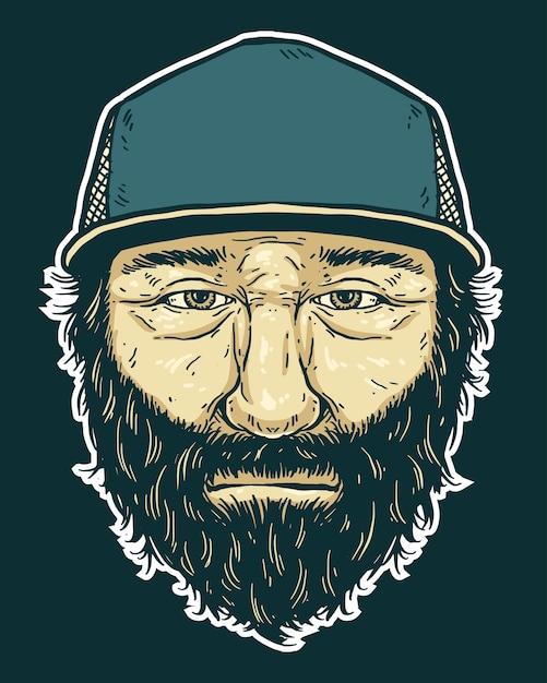 Homme Barbe Portant Illustration De La Casquette De Camionneur. Vecteur Premium
