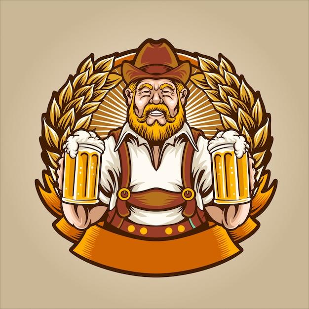 L'homme de la bière Vecteur Premium